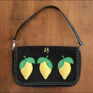 Lulu Guinness Bags - LULU GUINNESS BLACK CANVAS LEMON HANDBAG Black